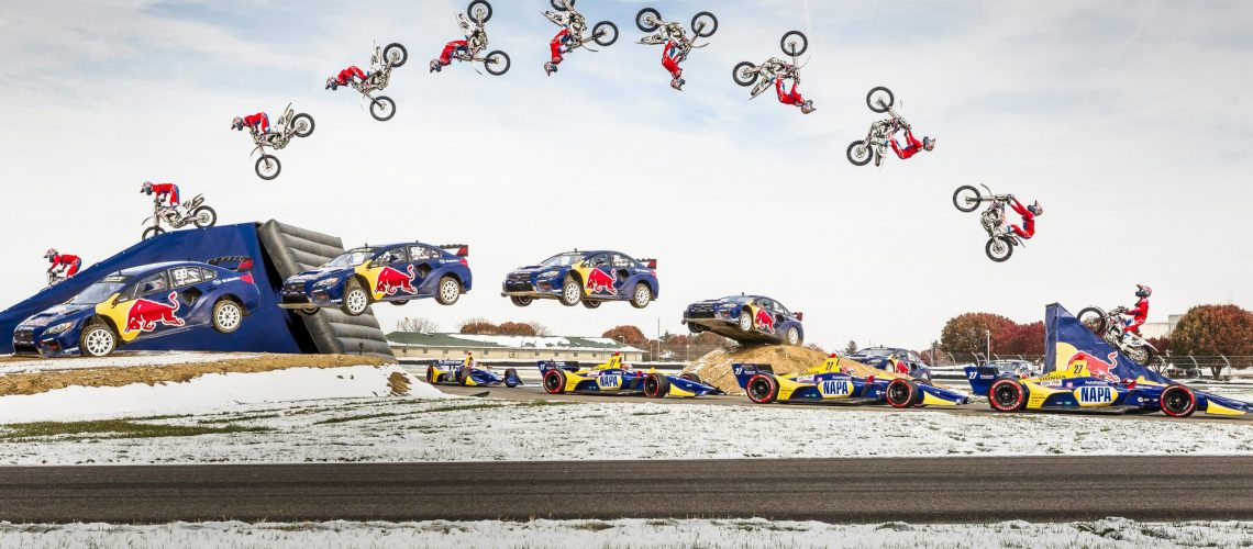 Travis Pastrana, Alexander Rossi, and Greg Duffy perform in Keys to the Track at Indianapolis Motor Speedway in Indianapolis, IN, USA on 13 November, 2019. // Chris Tedesco/Red Bull Content Pool // AP-22ZJ1P5RN2111 // Usage for editorial use only //